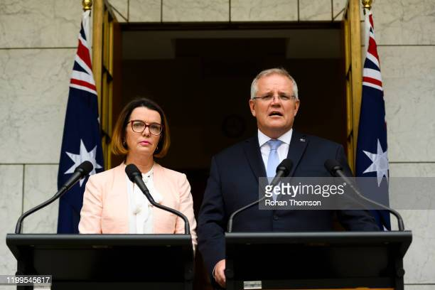 Prime Minister Scott Morrison speaks alongside Minister for Social Services Anne Ruston at a media conference at Parliament House on January 15 2020...