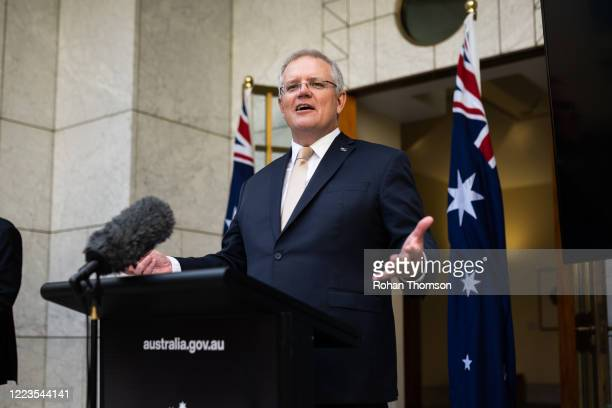 Prime Minister Scott Morrison speaks during a press conference following a National Cabinet meeting on May 8, 2020 in Canberra, Australia. Prime...
