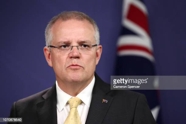 Prime Minister Scott Morrison speaks during a press conference on November 22 2018 in Sydney Australia The Federal Government is considering changes...