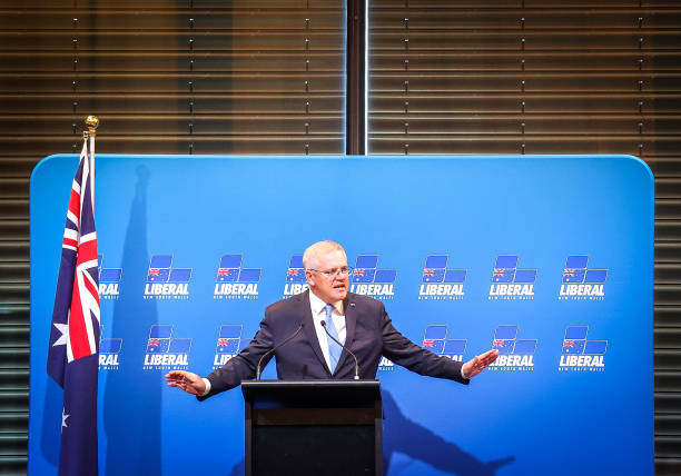 AUS: Prime Minister Scott Morrison Speaks At Federal Budget Lunch