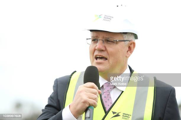 Prime Minister Scott Morrison speaks to the media before giving the order for work to commence on the construction of the Western Sydney airport on...