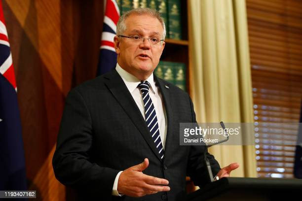 Prime Minister Scott Morrison talks to the media at a press conference on December 12, 2019 in Melbourne, Australia. The Federal Government have...