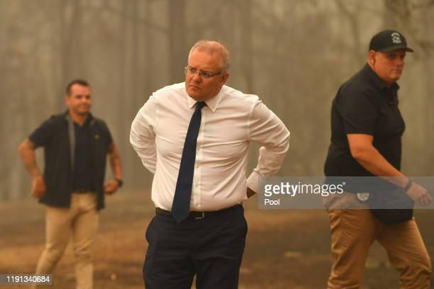 Prime Minister Scott Morrison tours the property of John 'Kooka' Kinniburgh on January 3 2020 in Sarsfield Victoria Australia People in Victoria's...
