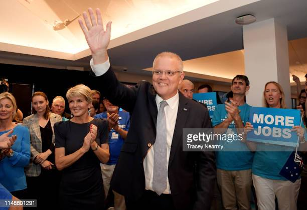 Prime Minister Scott Morrison with former deputy Prime Minister Julie Bishop at a Liberal Party Rally in the seat of Swan during campaigning for the...