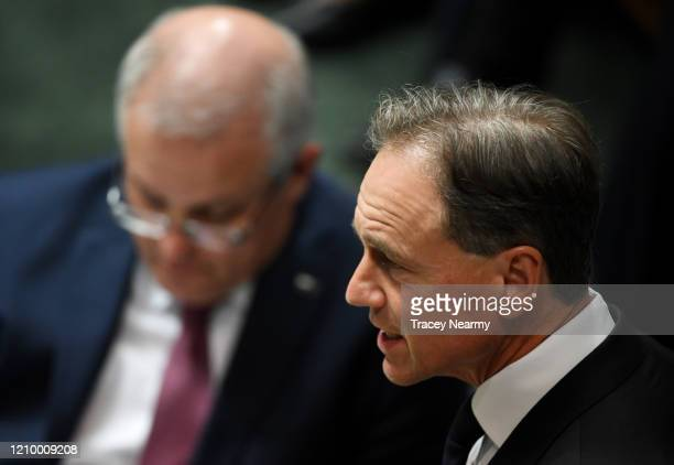 Prime Minister Scott Morrison with Health Minister Greg Hunt during Question Time in the House of Representatives on March 03 2020 in Canberra...