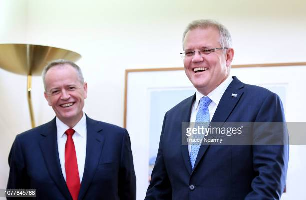 Prime Minister Scott Morrison with the Opposition Leader Bill Shorten at the Kmart Wishing Tree Salvation Army Present Collection at Parliament House...