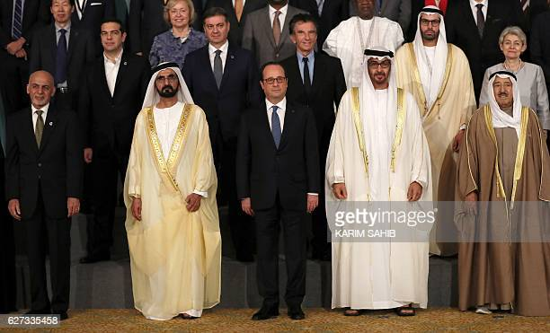 UAE Prime Minister Sheikh Mohammed bin Rashid alMaktoum French President Francois Hollande and Crown Prince of Abu Dhabi Sheikh Mohamed bin Zayed...