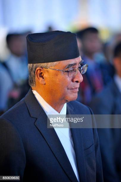 Prime Minister Sher Bahadur Deuba attend reception hosted at India House to mark 70 Years of India's independence at Kathmandu Nepal on Friday August...