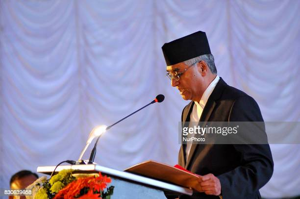 Prime Minister Sher Bahadur Deuba giving speech during reception hosted at India House to mark 70 Years of India's independence at Kathmandu Nepal on...