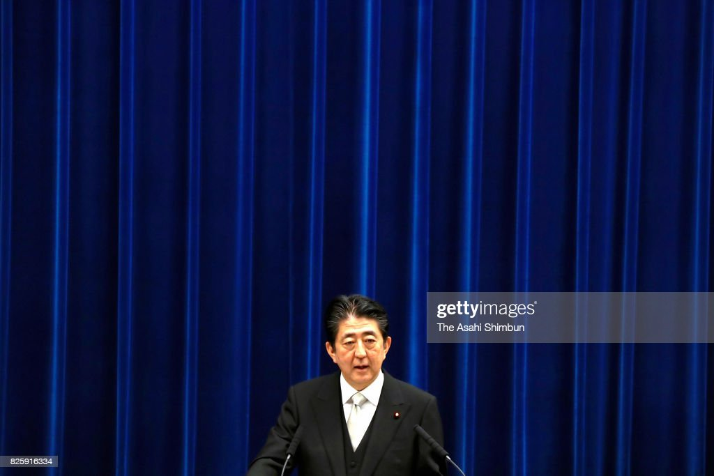 Prime Minister Shinzo Abe attends a press conference after reshuffling his cabinet at the prime minister's official residence on August 3, 2017 in Tokyo, Japan. Prime Minister Shinzo Abe reshuffles his Cabinet appointing ministers from outside his close circle of political allies in a bid to halt declining support ratings.