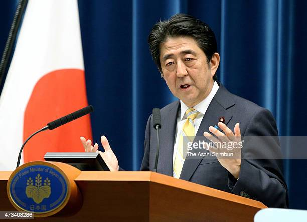 Prime Minister Shinzo Abe explains the 'peace and safety legislation' during a press conference at his official residence on May 14 2015 in Tokyo...