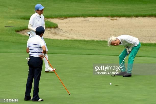 Prime Minister Shinzo Abe plays golf with former Prime Ministers Junichiro Koizumi and Taro Aso on August 16 2018 in Fujikawaguchiko Yamanashi Japan
