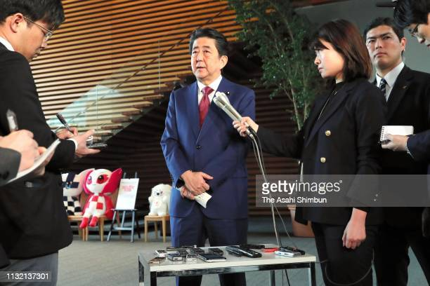 Prime Minister Shinzo Abe speaks to media reporters on February 25 2019 in Tokyo Japan In the prefecturewide referendum a total of 434273 voters or...