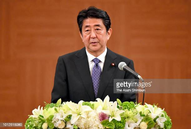 Prime Minister Shinzo Abe talks with ABomb survivors after attending the Peace Memorial Ceremony on 73rd anniversary of the Hiroshima ABomb dropping...