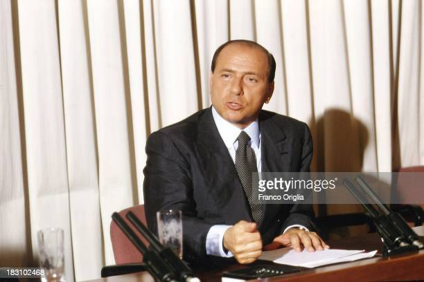 Prime Minister Silvio Berlusconi holds a press conference at Palazzo Chigi on July 29, 1994 in Rome, Italy.