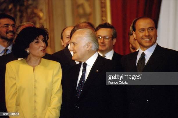 Prime Minister Silvio Berlusconi Minister of Agricolture Adriana Poli Bortone and President of the Italian Republic Oscar Luigi Scalfaro attend the...