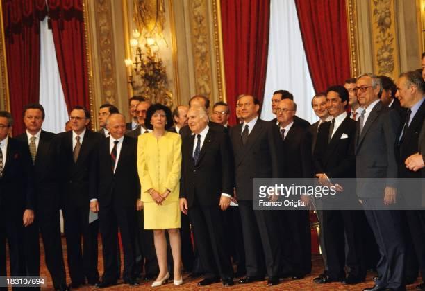 Prime Minister Silvio Berlusconi Minister of Agricolture Adriana Poli Bortone lawmaker Cesare Previti and President of the Italian Republic Oscar...