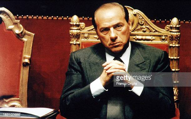 Prime Minister Silvio Berlusconi sits at the Italian Senate during a vote of confidence for his government at Palazzo Madama on May 17, 1994 in Rome,...