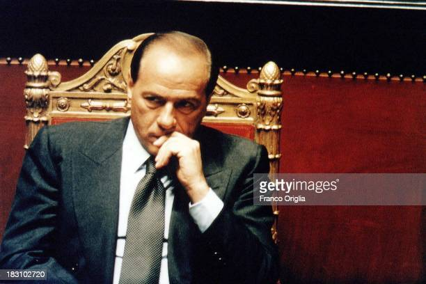 Prime Minister Silvio Berlusconi sits at the Italian Senate during a vote of confidence for his government at Palazzo Madama on May 17 1994 in Rome...