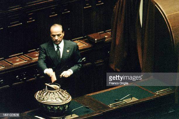 Prime Minister Silvio Berlusconi votes at Chamber of Deputies during the opening of the Parliamentary session at Montecitorio on April 12 1994 in...