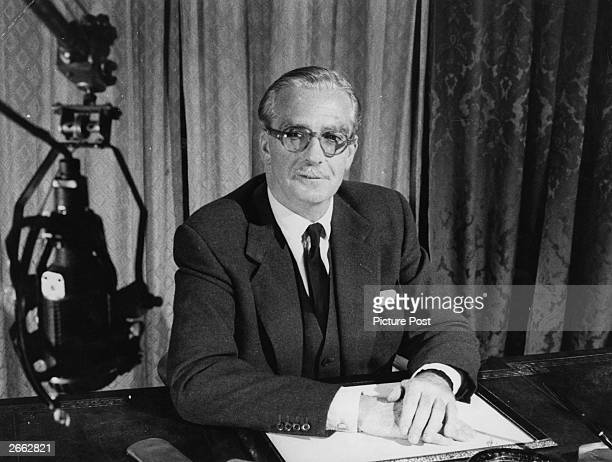 Prime Minister Sir Anthony Eden Lord Avon broadcasts to the nation at the time of the Suez Conference convened to discuss the future ownership of the...