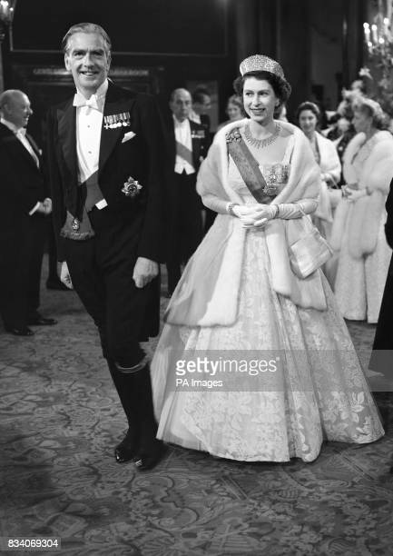 Prime Minister Sir Anthony Eden with Queen Elizabeth II at the Royal Opera House, Covent Garden, London. They were attending a gala performance of...