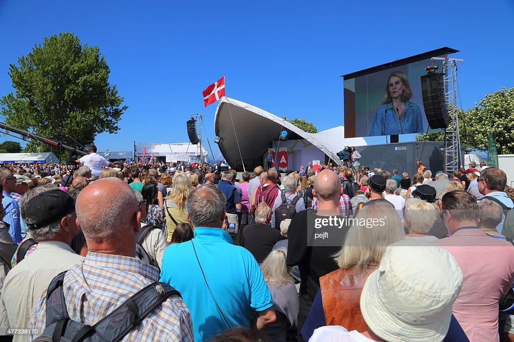 Prime Minister Statsminister Helle Thorning-Schmidt at Folkemødet on Bornholm : Stock Photo