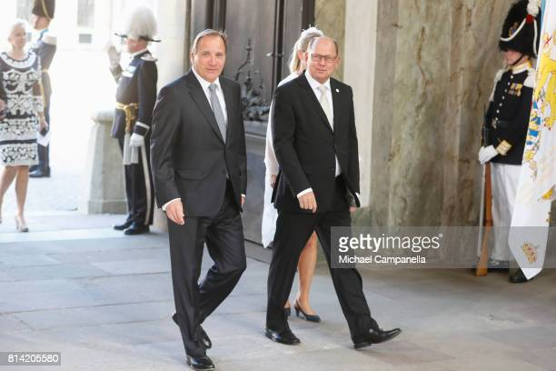 Prime minister Stefan Loefven and speaker of the parliament Urban Ahlin arrive for a thanksgiving service on the occasion of The Crown Princess...