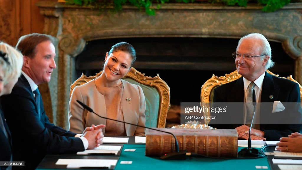 Prime Minister Stefan Lofven, Crown Princess Victoria of Sweden and King Carl Gustaf of Sweden announced the name Prince Gabriel Carl Walther, Duke of Dalecarlia, for the new born son pf Prince Carl Philip and Princess Sofia during a Cabinet meeting at the Royal Palace in Stockholm on September 04, 2017. News Agency / Anders WIKLUND / Sweden OUT