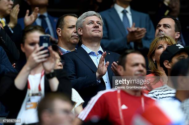 Prime Minister Stephen Harper of Canada in the stands before the FIFA Women's World Cup Canada 2015 Final between the United States and Japan at BC...