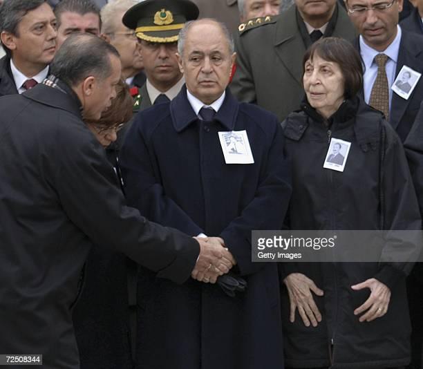 Prime Minister Tayyip Erdogan greets Former Prime Minister Bulent Ecevit's wife Rahsan Ecevit as President Ahmet Necdet Sezer attends the funeral...