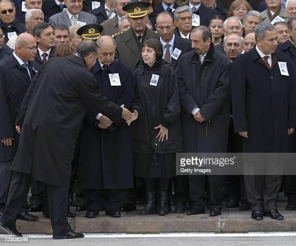 Prime Minister Tayyip Erdogan salutes Former Prime Minister Bulent Ecevit's wife Rahsan Ecevit as President Ahmet Necdet Sezer and Turkish Cypriot...