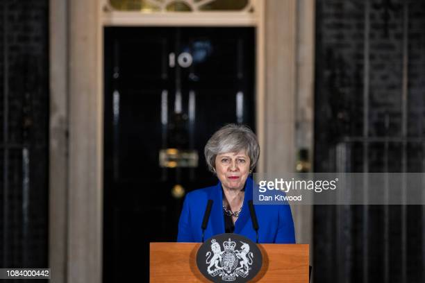 Prime Minister Theresa May addresses the media at number 10 Downing street after her government defeated a vote of no confidence in the House of...