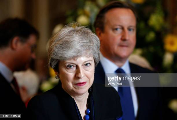 Prime Minister, Theresa May and former Prime Minister David Cameron attend a service of thanksgiving to remember the life of Lord Jeremy Heywood at...