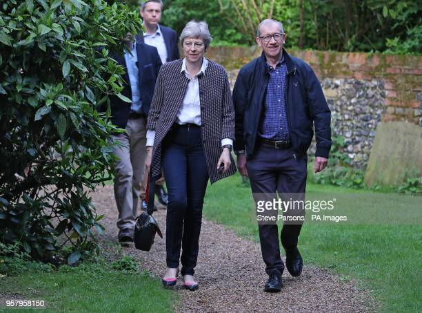 Prime Minister Theresa May and her husband Philip arrive for a church service near her Maidenhead constituency