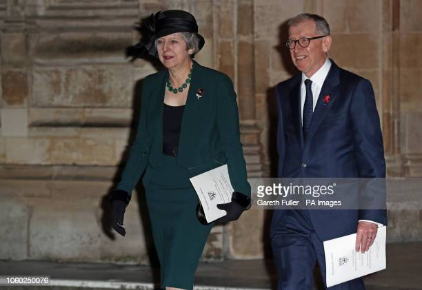 Prime Minister Theresa May and her husband Philip leave Westminster Abbey London after attending a National Service to mark the centenary of the...