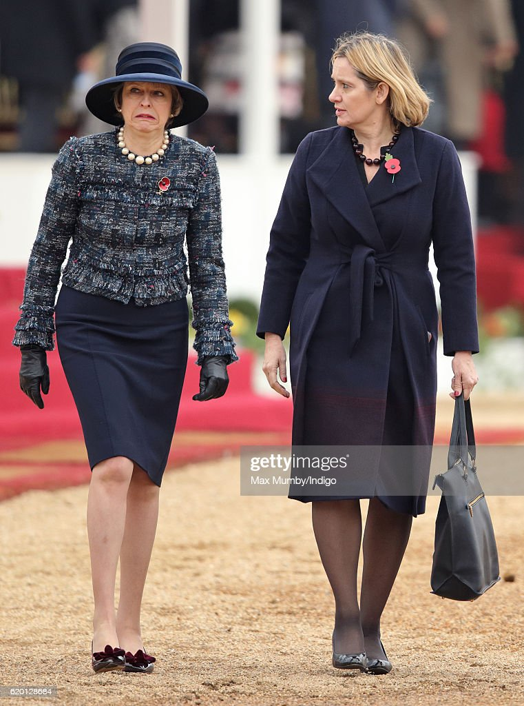 Prime Minister Theresa May and Home Secretary Amber Rudd attend the Ceremonial Welcome for the President of Colombia at Horse Guards Parade on November 1, 2016 in London, England. The President of the Republic of Colombia Juan Manuel Santos and his wife Maria Clemencia Rodriguez de Santos are paying their first State Visit to the UK as official guests of Queen Elizabeth.