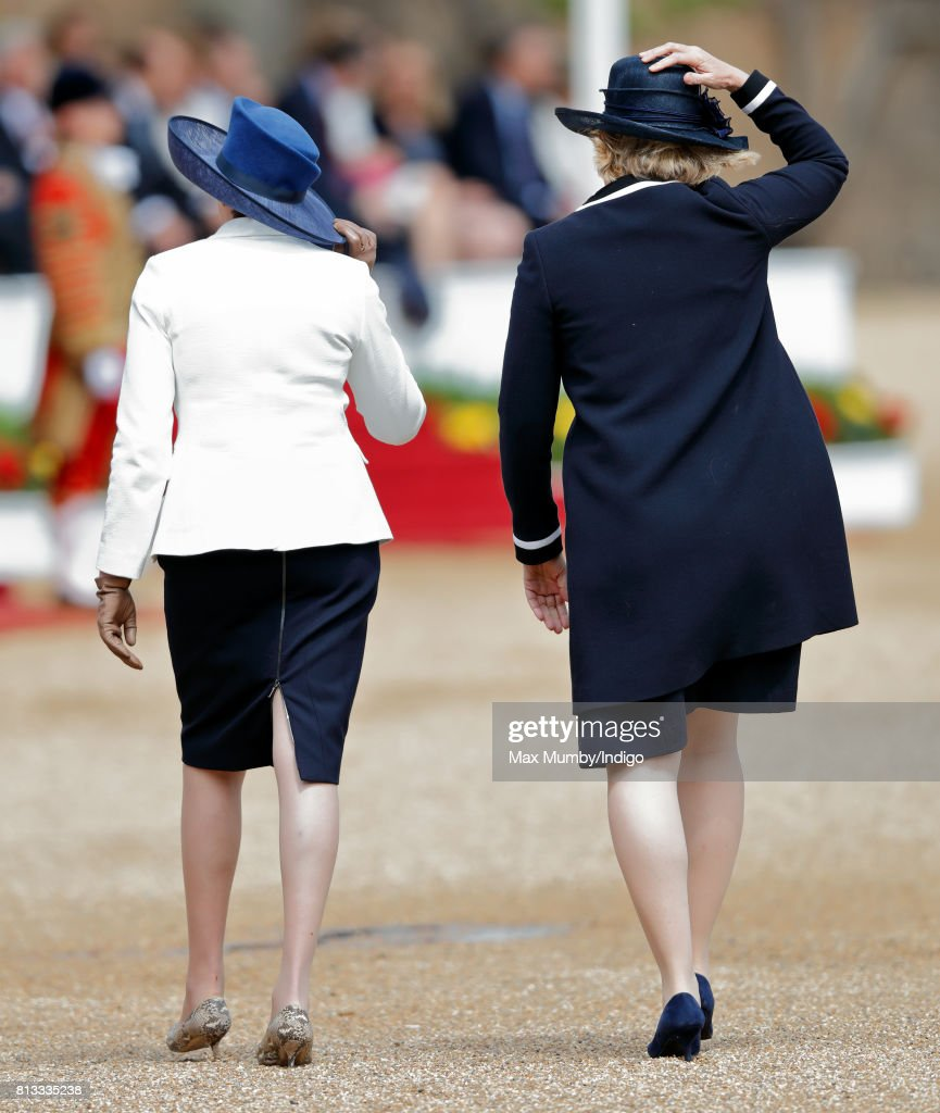 Prime Minister Theresa May and Home Secretary Amber Rudd attend the ceremonial welcome at Horse Guards Parade on day 1 of Spanish State Visit on July 12, 2017 in London, England. This is the first state visit by the current King Felipe and Queen Letizia, the last being in 1986 with King Juan Carlos and Queen Sofia.