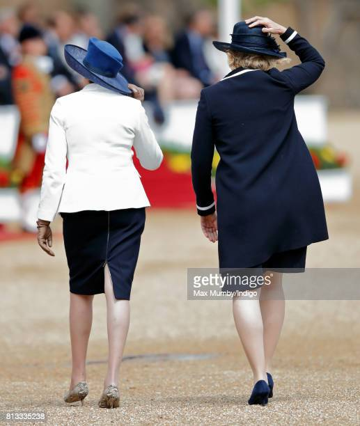 Prime Minister Theresa May and Home Secretary Amber Rudd attend the ceremonial welcome at Horse Guards Parade on day 1 of Spanish State Visit on July...