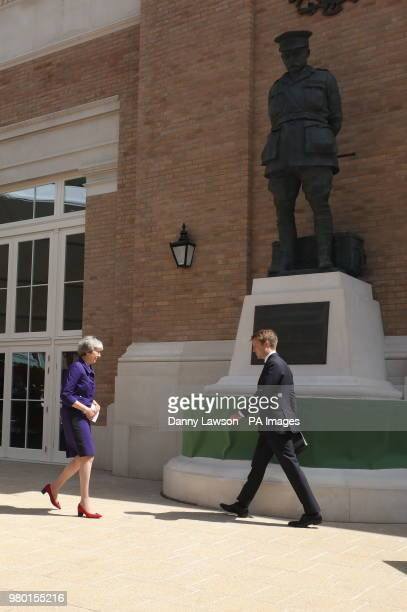 Prime Minister Theresa May and Hugh Grosvenor 7th Duke of Westminster during the official handover to the nation of the newly built Defence and...