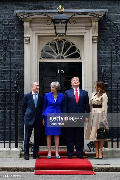 Prime Minister Theresa May and husband Philip May welcome US President Donald Trump and First Lady Melania Trump to 10 Downing Street during the...