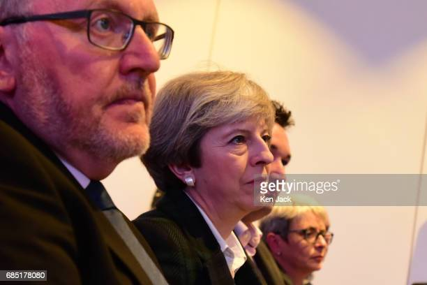 Prime Minister Theresa May and Scottish Secretary David Mundell listen to Scottish Conservative Party leader Ruth Davidson speaking at the launch of...