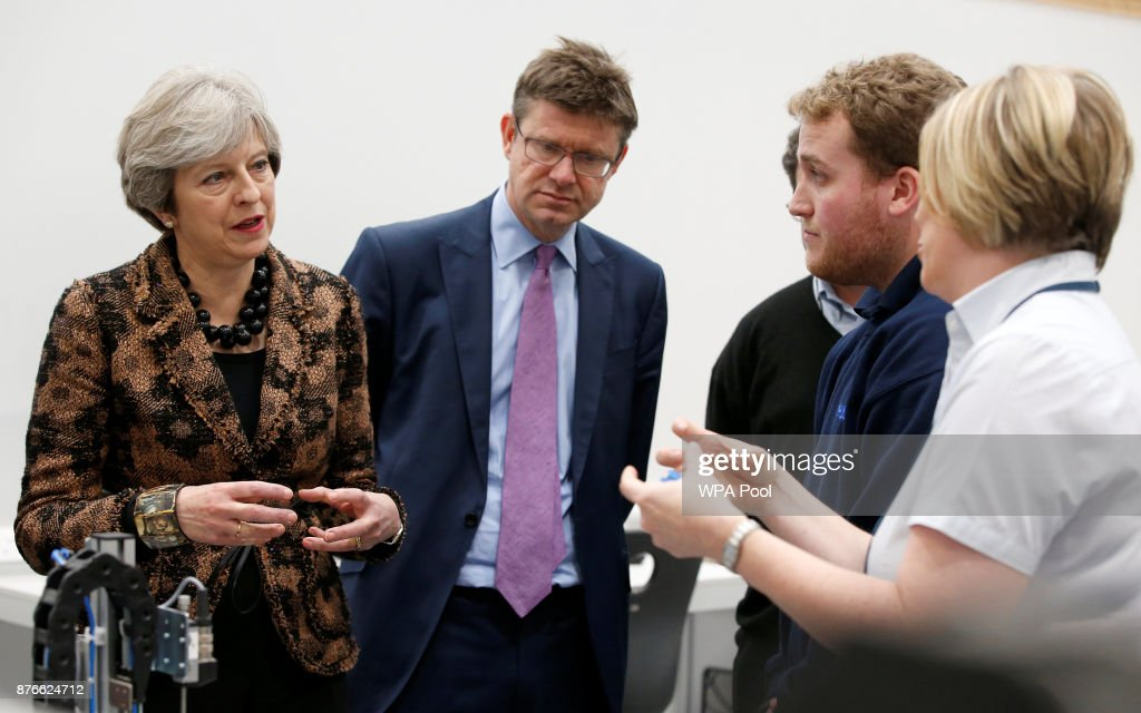 Prime Minister Theresa May Visits Engineering Training Facility In West Midlands