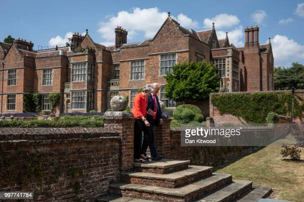 Prime Minister Theresa May and US President Donald Trump arrive for a joint press conference at Chequers on July 13 2018 in Aylesbury England US...