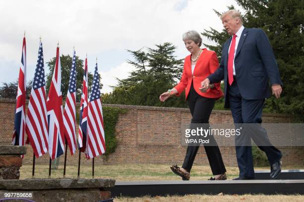 Prime Minister Theresa May and U.S. President Donald Trump attend a joint press conference following their meeting at Chequers on July 13, 2018 in...