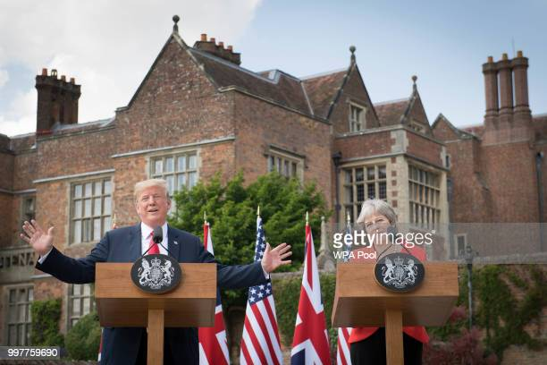 Prime Minister Theresa May and US President Donald Trump attend a joint press conference following their meeting at Chequers on July 13 2018 in...
