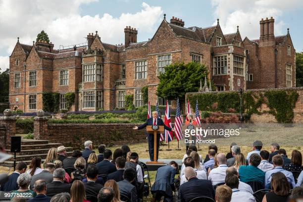 Prime Minister Theresa May and US President Donald Trump hold a joint press conference at Chequers on July 13 2018 in Aylesbury England US President...