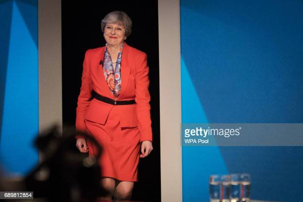 Prime Minister Theresa May appears on a joint Channel 4 and Sky News general election programme 'May v Corbyn Live The Battle for Number 10' at Sky...