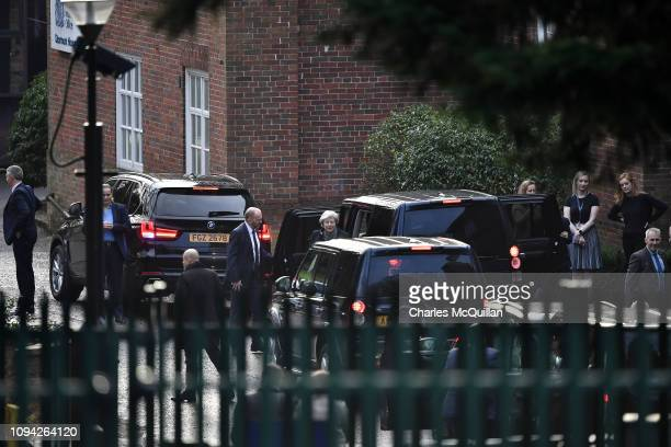 Prime Minister Theresa May arrives at Stormont House on February 6 2019 in Belfast Northern Ireland The Prime Minister who is on the second day of a...