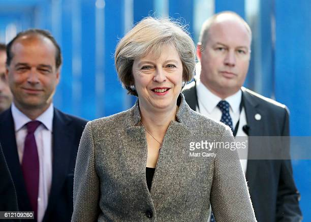 Prime Minister Theresa May arrives at the Birmingham ICC for the Conservative Party Conference on October 3 2016 in Birmingham England On the second...